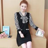 中大尺碼M-5XL大碼女裝秋裝條紋拼接絲帶領連衣裙修身顯瘦打底裙子5F025.307.1號公館