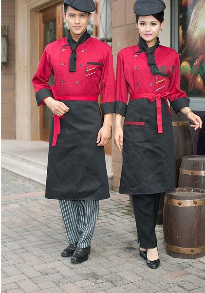 新款套裝廚師服長袖秋冬裝廚房工作服高檔廚衣紅色套裝雙排扣套裝