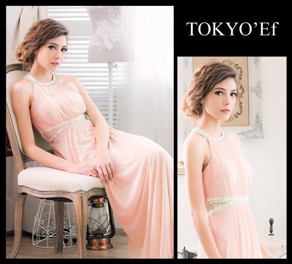 東京衣服 月光派對 典雅削肩 璀璨碎鑽女神風高雅設計細褶長禮服 粉橘