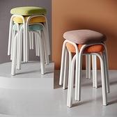 凳子家用經濟型簡易椅子簡約現代餐桌凳加厚塑料高凳餐廳鐵腿方凳 晴天時尚