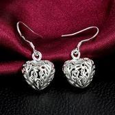 925純銀耳環 (耳針式)-愛心鏤空生日情人節禮物女飾品73au66【巴黎精品】