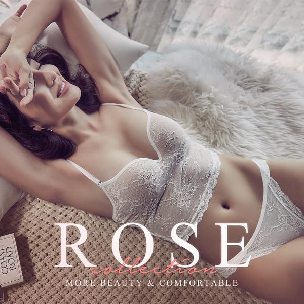 短版 Ladoore Rose 舒適無鋼圈集中短版 Bra Top 成套組(白)