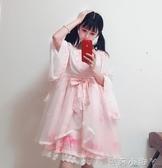 蘿莉裝洛麗塔洋裝lolita軟妹日常中華風廣袖流仙裙op洋裝櫻花和風羽織 NMS蘿莉小腳丫