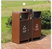 還原美 室外不銹鋼電鍍垃圾桶 雙桶 高檔城市印象果皮箱 垃圾筒 童趣潮品