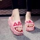厚底拖鞋拖鞋女新款時尚外穿百搭可濕水厚底一字拖潮款涼拖 快速出貨