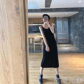 秋冬新款修身針織吊帶洋裝女背心長裙中長款黑色內搭打底裙 至簡元素