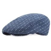 貝雷帽-時尚白色格線棉質男女鴨舌帽3色73tv85【時尚巴黎】