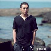 中國風男裝仿棉麻T恤夏季寬鬆短袖大碼T恤薄款中式復古仿亞麻體恤『艾麗花園』