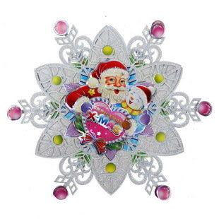 立體金粉聖誕雪花貼畫
