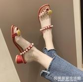拖鞋女外穿鞋子女潮鞋新款夏季粗跟中跟網紅時尚菠蘿一字拖女 完美居家生活館