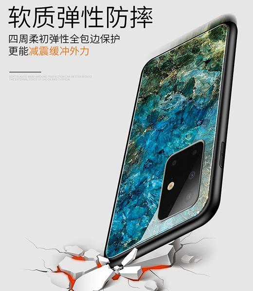 三星 A71 A51 大理石紋背蓋 鋼化玻璃背板保護套 裂紋手機殼 全包邊手機套 軟邊保護殼