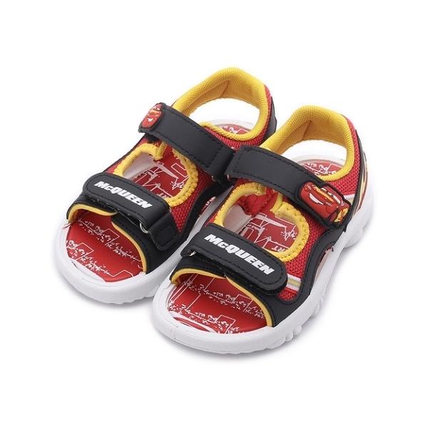 汽車總動員 閃電麥坤 雙魔鬼氈涼鞋 黑紅 中小童鞋