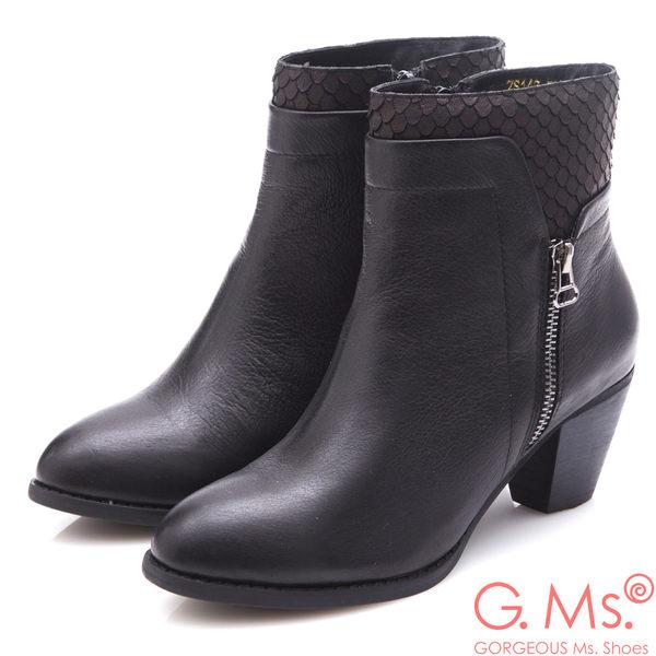 G.Ms. 牛皮拼接魚鱗造型粗跟踝靴*黑色