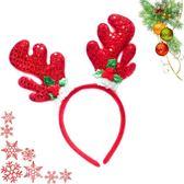 亮片鹿角聖誕葉髮箍(多款可選) ◆86小舖 ◆
