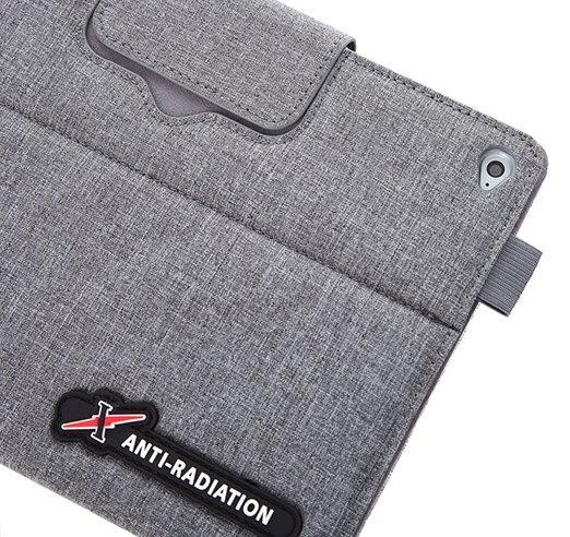 X iPAD mini 4 SLEEVE   防電磁波可立式潑水平板保護套 (織布紋洗練灰)