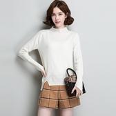 羊毛針織衫-半高領不規則純色套頭長袖女毛衣3色73uj25【巴黎精品】