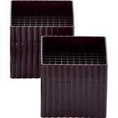 〔小禮堂〕日製方型塑膠桌角高度調節器《2入.黑棕》桌腳套.傢俱墊高器 4945548-01605