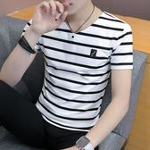 條紋T恤2018男士短袖t恤純棉半袖個性條紋韓版潮流夏季男裝修身衣服 曼莎時尚