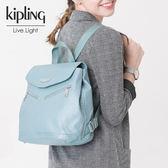 Kipling 雲彩淺藍素面後背包-小