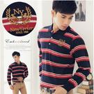 【大盤大】(P30155)男裝 長袖口袋POLO衫 條紋休閒衫 紅黑 繡花上衣 保暖 聖誕節【L和2XL號斷貨】