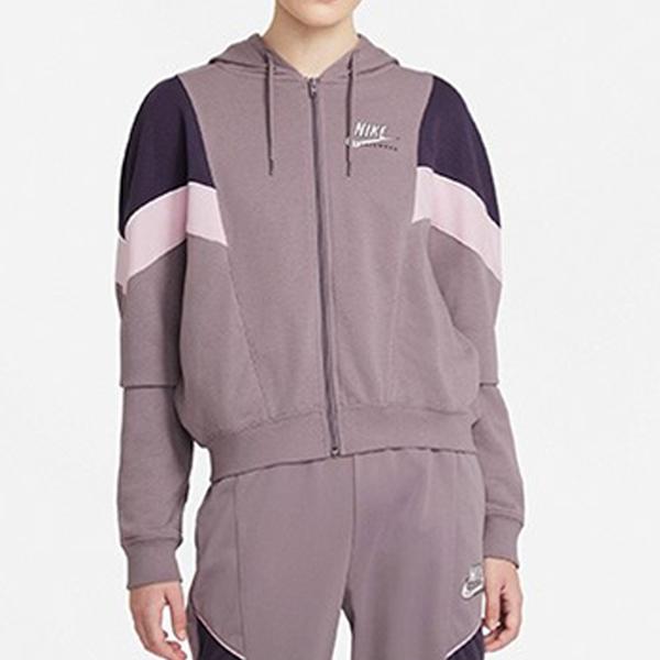 【現貨】Nike NSW 女裝 外套 連帽 休閒 訓練 拼接 紫【運動世界】CZ8601-531