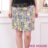 【RED HOUSE-蕾赫斯】滿版田園花朵荷葉邊裙(綠色)