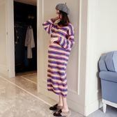 孕婦裙 孕婦裝加厚彩色條紋寬鬆毛衣連衣裙時尚秋冬裝中長款打底孕婦裙子 【快速出貨八折】
