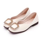 MICHELLE PARK 優雅公主 柔軟牛皮水鑽方形大飾扣包鞋-米白