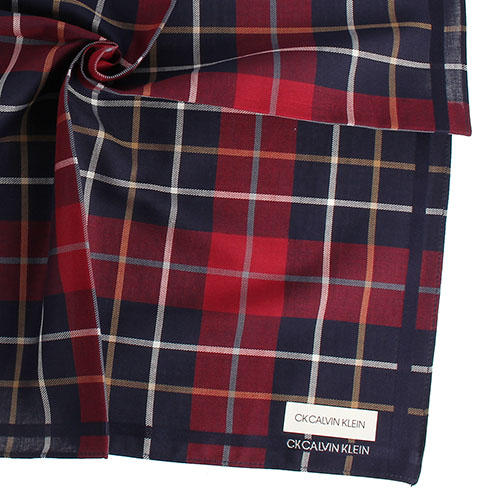 Calvin Klein CK經典格紋男士手帕/帕巾(藍紅色)989091-274