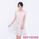 【RED HOUSE 蕾赫斯】雪紡拼接花朵烏干紗洋裝(共2色)