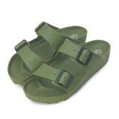 LIKA夢 LOTTO 馬卡龍雙扣環時尚輕量拖鞋 海灘拖鞋 室內、外拖鞋 軍綠 5575 男