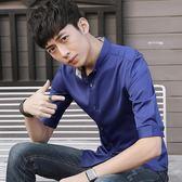 短袖素面襯衫男中袖修身潮流五分袖純色襯衣《印象精品》t367