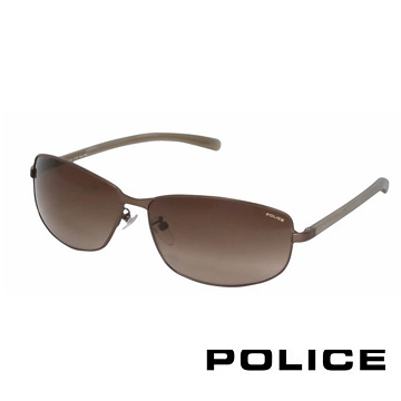 【南紡購物中心】POLICE 都會復古飛行員太陽眼鏡 (古銅色) POS8697-0R10
