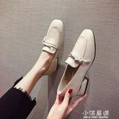 小皮鞋女英倫復古2019春季新款方頭樂福鞋粗跟中跟單鞋網紅豆豆鞋『小淇嚴選』