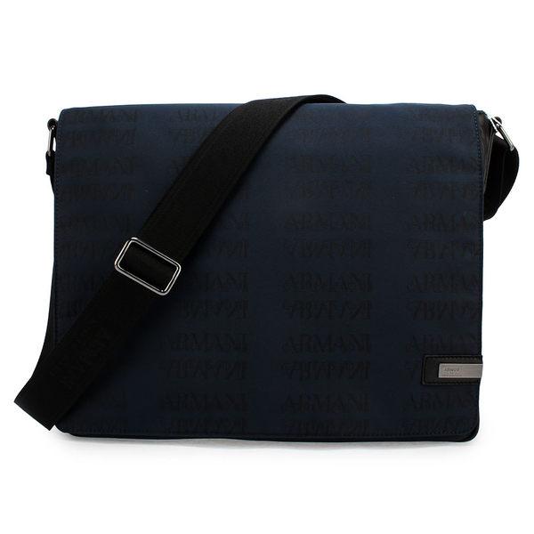 ARMANI COLLEZIONI 滿版LOGO掀蓋式斜背包(藍色)102303-1