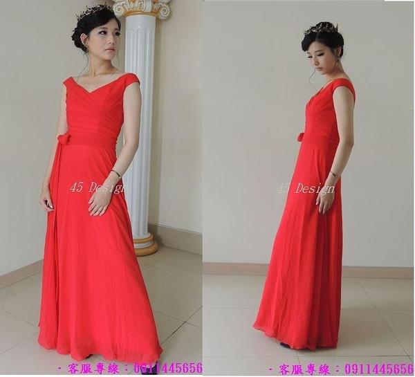 (45 Design) 結婚紅色長款禮服新娘 婚紗禮服 新款敬酒服演出服吊帶晚禮服