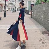 法式長袖連身裙女秋季氣質顯瘦桔梗長裙【小酒窩服飾】