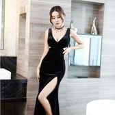 夜場連身裙子ktv晚禮服性感長裙顯瘦夜店工裝女裝小姐氣 伊蒂斯女裝  LX