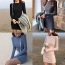 長袖洋裝 秋季連身裙收腰顯瘦修身裙子 女針織包臀打底裙氣質裙  降價兩天