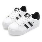 PLAYBOY 復刻魅力 彈性厚底小白鞋2.0-白黑(Y6217)