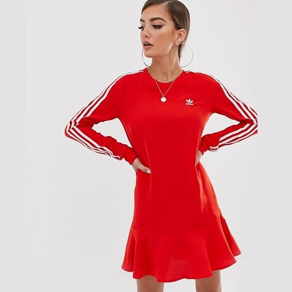 ADIDAS 洋裝 ORIGINALS 紅 三線 楊冪同款 荷葉裙擺 連身裙 女 (布魯克林) DW3880