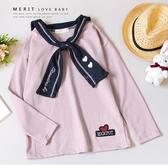 中大童 韓版學院風水手領寬鬆粉色上衣 長袖 刺繡 甜美 落肩 毛圈布 柔軟 舒適 女大童 大童
