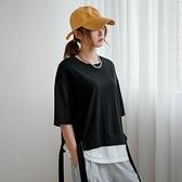 假兩件長帶造型短袖棉質上衣(共2色)【NJ1449】預購
