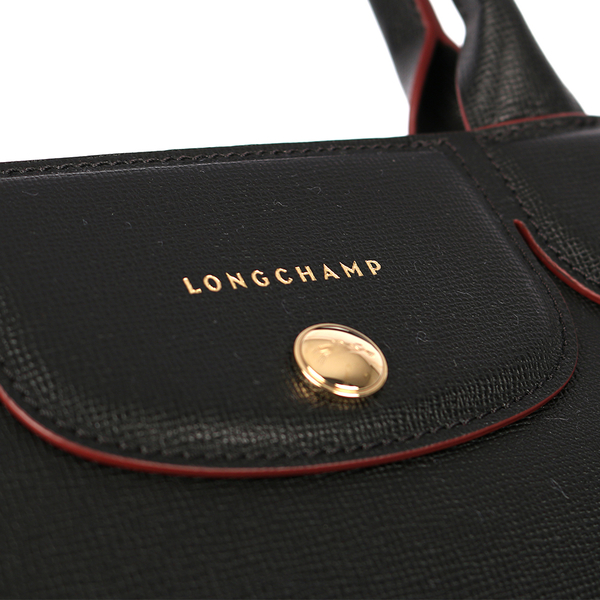 【LONGCHAMP】硬殼牛皮水餃二用包(黑色)1117813001