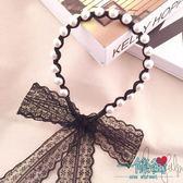 新款韓國甜美頭箍飄帶發帶蕾絲發箍時尚發箍發飾珍珠超仙發窟發卡【一條街】