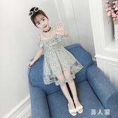 女童洋裝夏裝短袖連身裙2020新款韓版洋氣漏肩兒童裙子雪紡女孩夏季公主裙 PA16875『男人範』