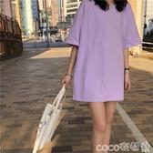 T恤純棉T恤女短袖ins春夏女裝寬鬆純色中長款下衣消失上衣洋氣胖mm潮 coco