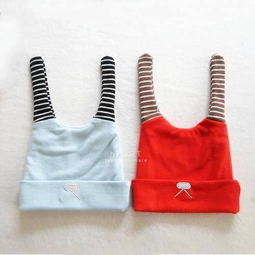 條紋兔耳拼色嬰兒保暖帽 童帽 嬰兒帽 胎帽 新生兒帽