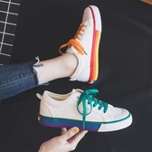 帆布鞋女新款韓版夏款小白鞋鴛鴦彩虹秋款秋鞋秋季百搭潮鞋子 亞斯藍