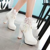 中大尺碼女鞋 短筒靴子超高跟粗跟系帶馬丁靴英倫風短靴